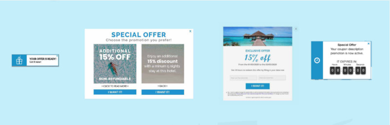 Customer Journey multioffer product consisting of a notification, multioffer, popup and countdown clock