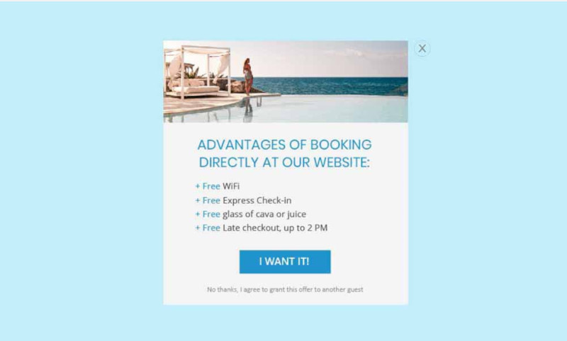 A Service Card that informs the customer about the advantages of direct booking